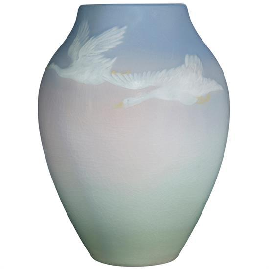 Lenore Asbury (1866-1933) for Rookwood Pottery Flying Geese vase, #604D 5