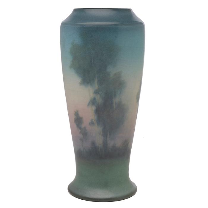 Lenore Asbury (1866-1933) for Rookwood Pottery Landscape vase, #1356D 4