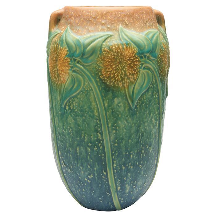 Roseville Pottery Co. Sunflower two-handled vase 6