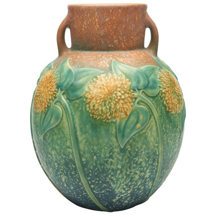 Roseville Pottery Co. Sunflower two-handled vase 6.5