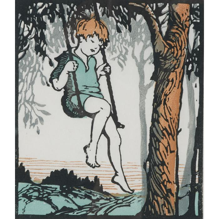 Frances H. Gearhart, (American, 1869-1958), Swinging (Let''s Play series), woodblock print, visible: 8.5