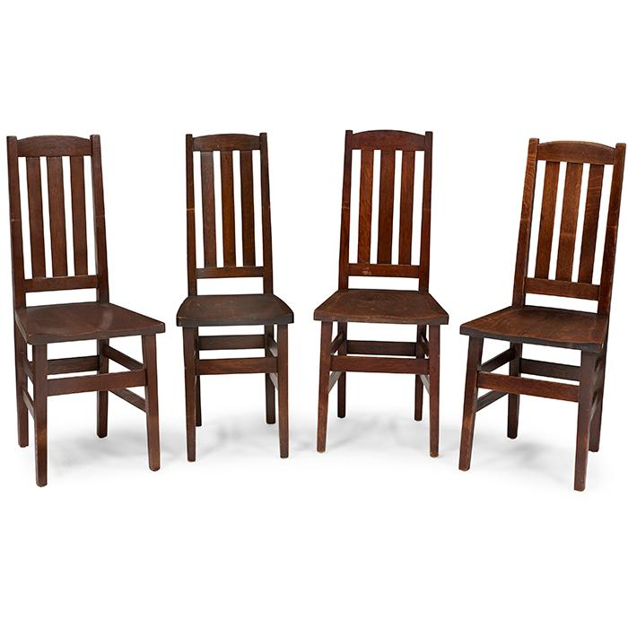 Stickley Brothers assembled set of side chairs, #312 1/2, four 16