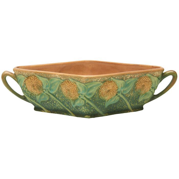 Roseville Pottery Co. Sunflower two-handled bowl 12.5