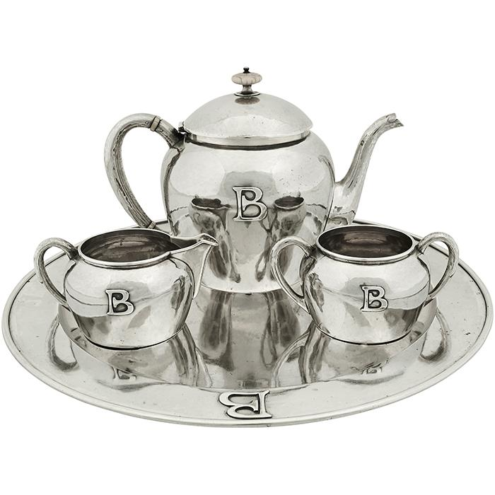 The Kalo Shop three-piece tea service, #9 on tray, #923E teapot: 9 3/4