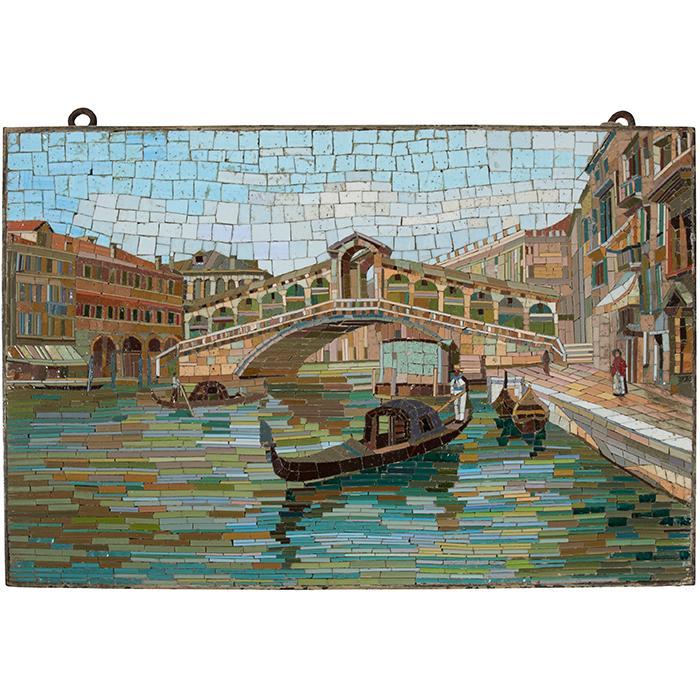 Studio Del Mosaico Rialto Bridge, Venice micromosaic plaque 16 1/4