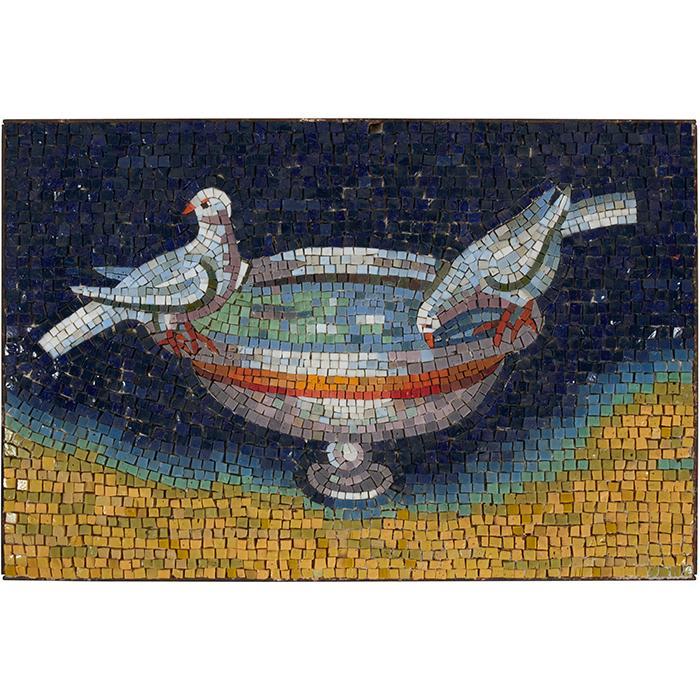 Studio Del Mosaico Tazza con Palombe mircomosaic plaque, #3093A 12 3/4