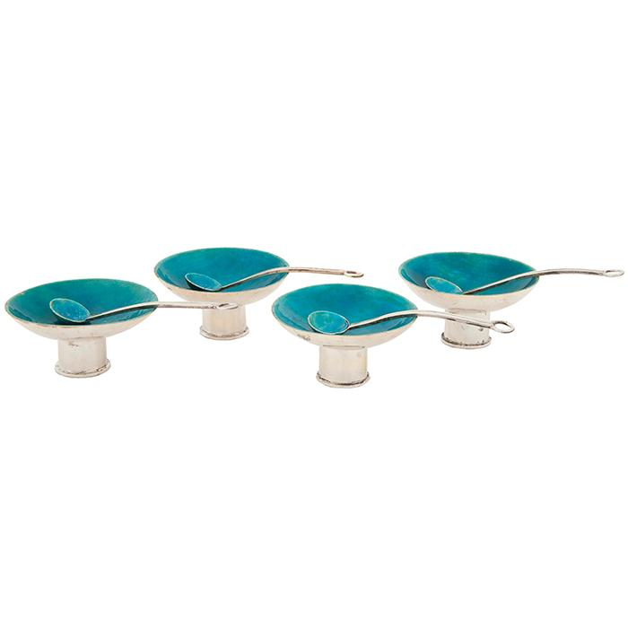Maria Regnier (1901–1994) salt cellars and spoons, set of four salt cellar: 2
