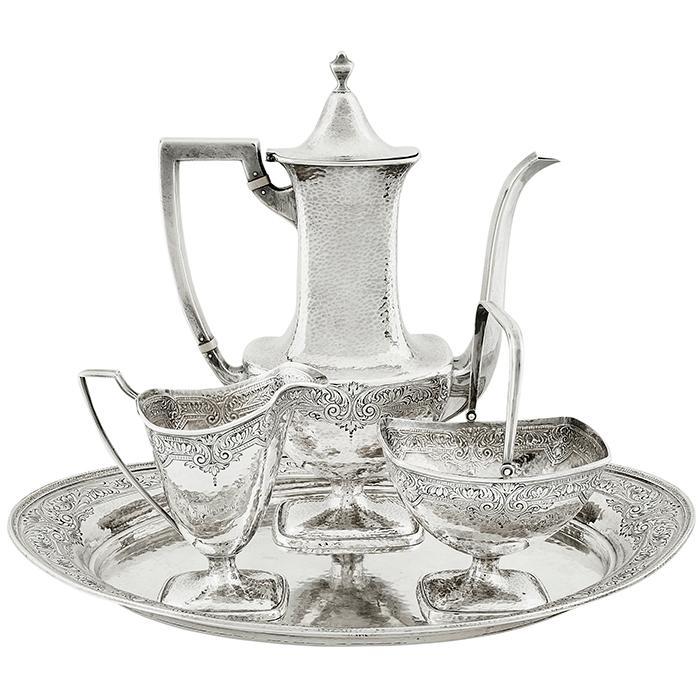 International Silver Co. four-piece coffee service, #C1676 coffee pot: 8 3/8