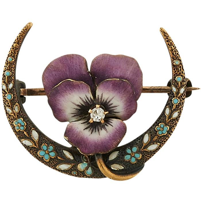 Krementz & Co. Crescent Pansy Art Nouveau brooch 7/8