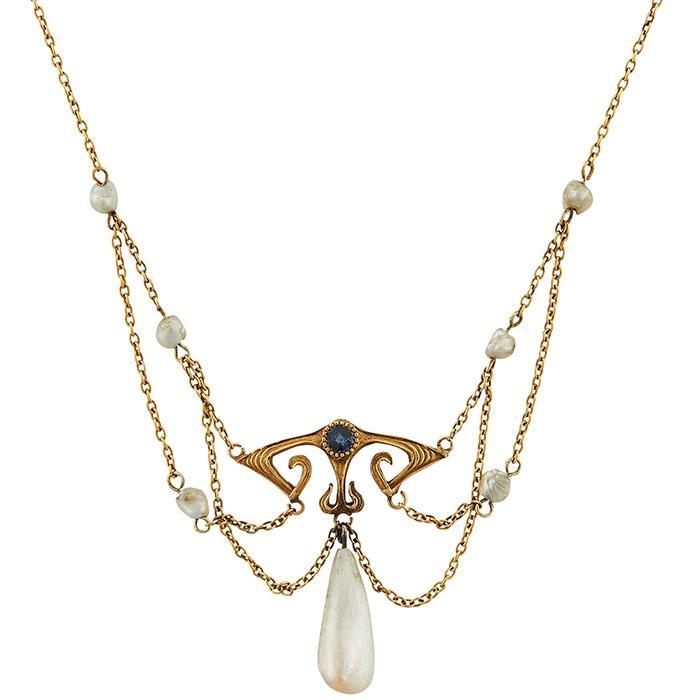 Charles S. Crossman & Co. Art Nouveau lavalier style necklace 16