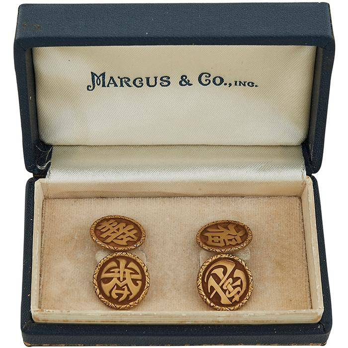 Marcus & Co., Retailer Prosperity and Long Life cufflinks 5/8