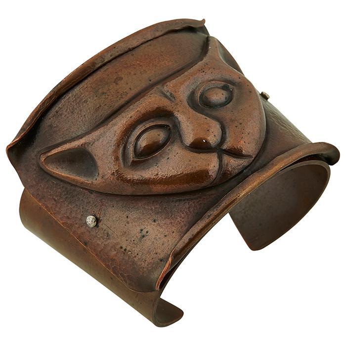 American, 20th Century Bastet (Cat Goddess) cuff bracelet 2 3/8