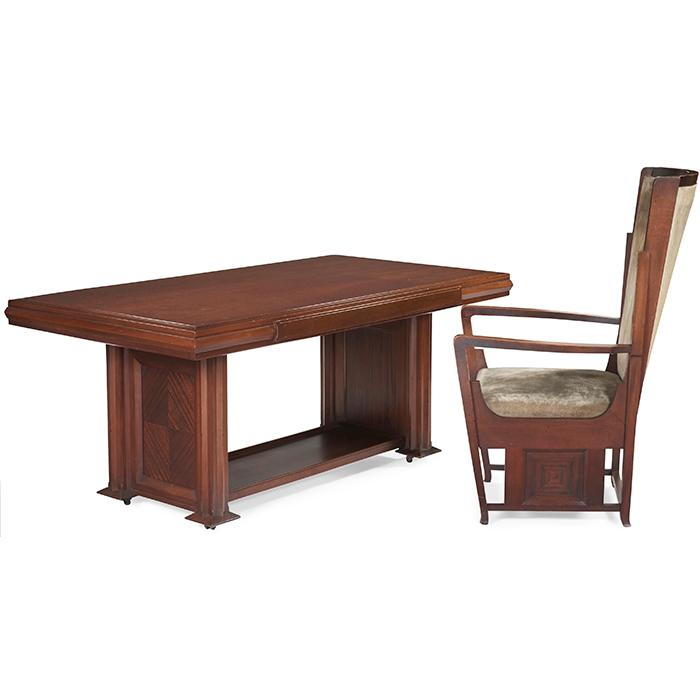 "George Mann Niedecken (1878-1945) for the Frank T. Boesel Commission chair and library table chair: 25.25""w x 25.25""d x 46.5"
