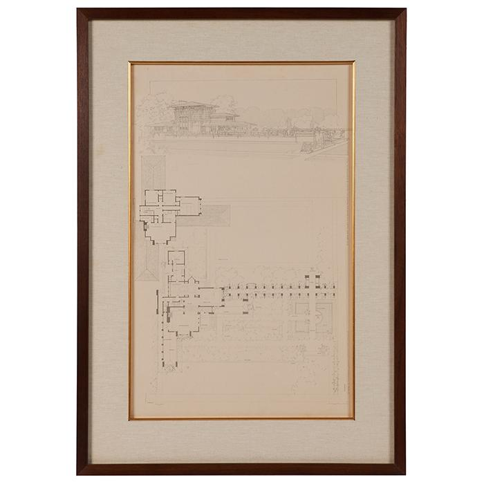 Frank Lloyd Wright (1867-1959) Wasmuth Portfolio print, William E. Martin House, Oak Park, IL frame: 22