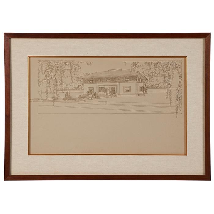 Frank Lloyd Wright (1867-1959) Wasmuth Portfolio print, William H. Winslow House, River Forest, IL frame: 30