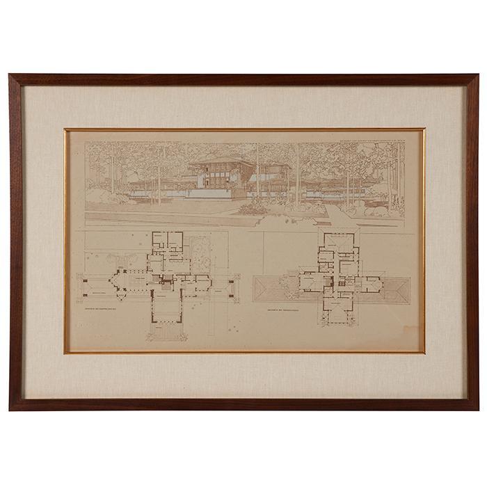 Frank Lloyd Wright (1867-1959) Wasmuth Portfolio print, Ward W. Willits House, Highland Park, IL frame: 30