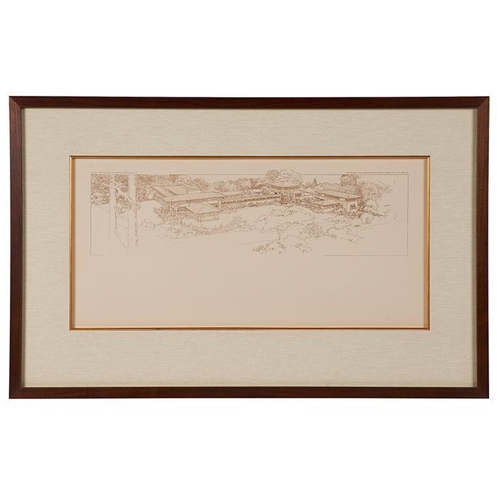 Frank Lloyd Wright (1867-1959) Wasmuth Portfolio print, Darwin D. Martin House, Buffalo, NY frame: 32