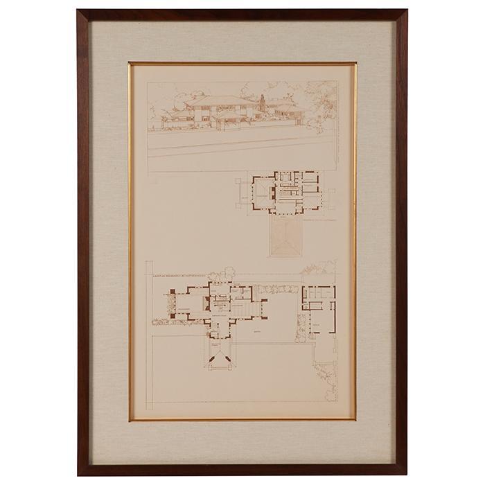 Frank Lloyd Wright (1867-1959) Wasmuth Portfolio print, Francis W. Little House, Peoria, IL frame: 22