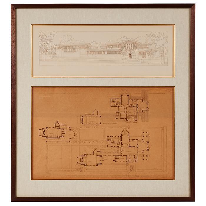 Frank Lloyd Wright (1867-1959) Wasmuth Portfolio prints, two, Susan L. Dana House, Springfield, IL frame: 30.5