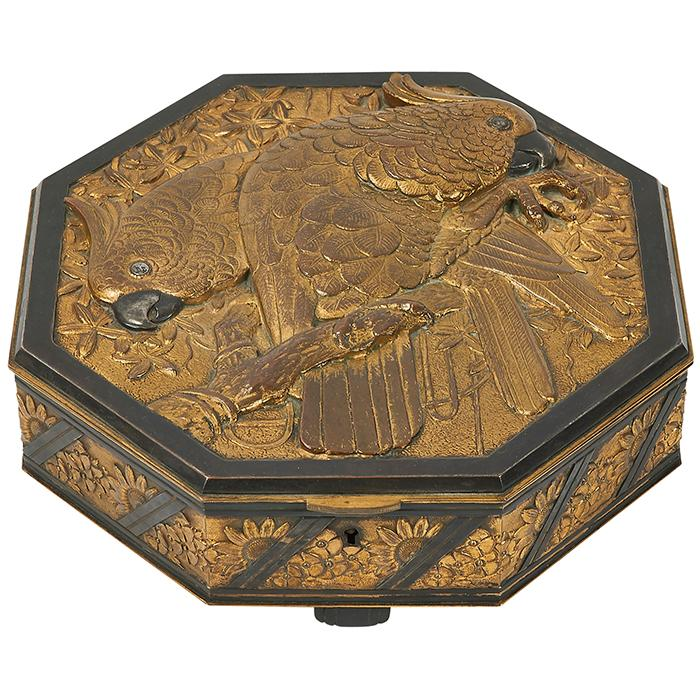 French Art Deco, likely by Francois Thenot Cockatoo octagonal table casket / jewelry box 9 1/8