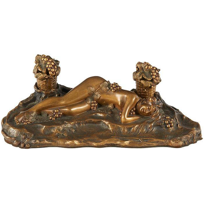 Paul Philippe (1870-1930), After Bacchic Nymph inkwell 11.5