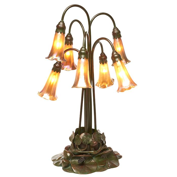 Tiffany Studios seven-light Lily table lamp, #385 14