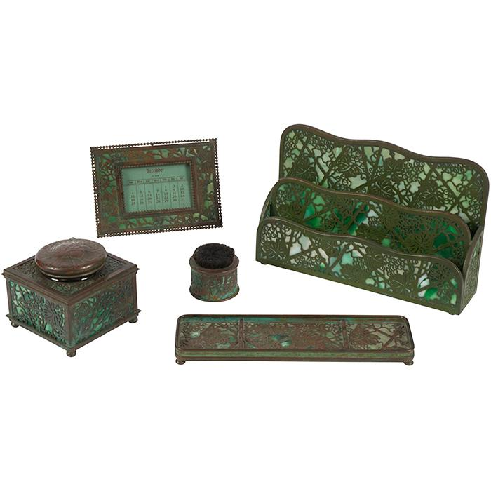 Tiffany Studios Grapevine five-piece desk set largest: 10