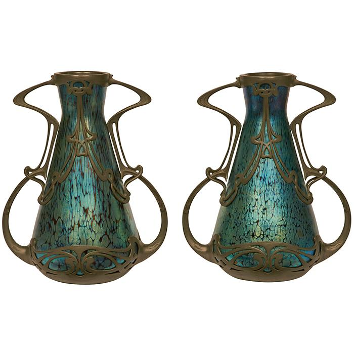 Kralik vases, #31 and #32, pair 8.5