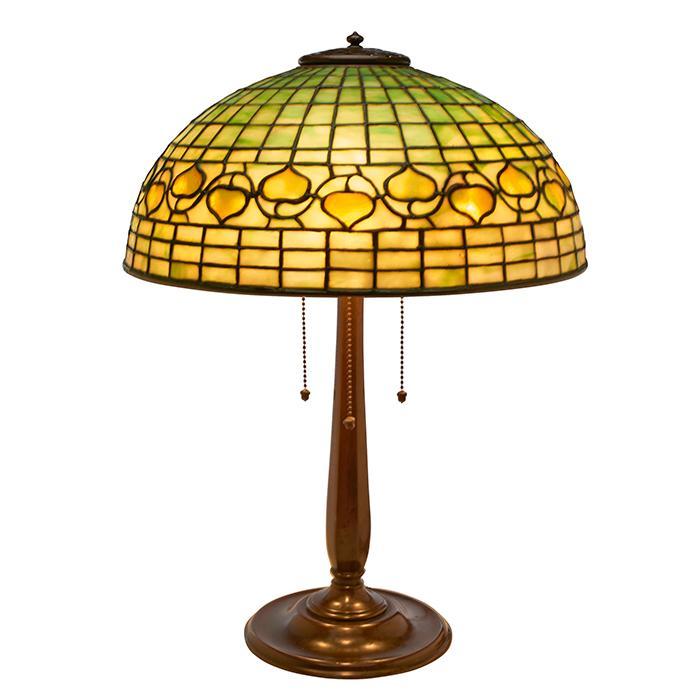 Tiffany Studios Acorn table lamp: shade, #1435-142 on base, #534 16