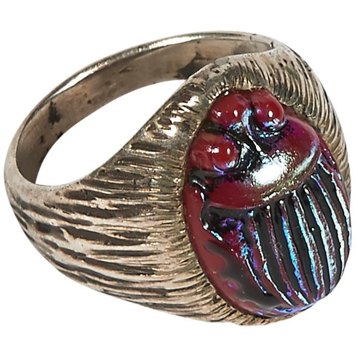 Louis Comfort Tiffany (1848-1933) Scarab ring scarab: 3/4