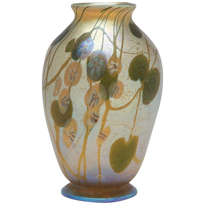 Louis Comfort Tiffany (1848-1933) Leaf and Vine with Millefiori cabinet vase, #R1120 2