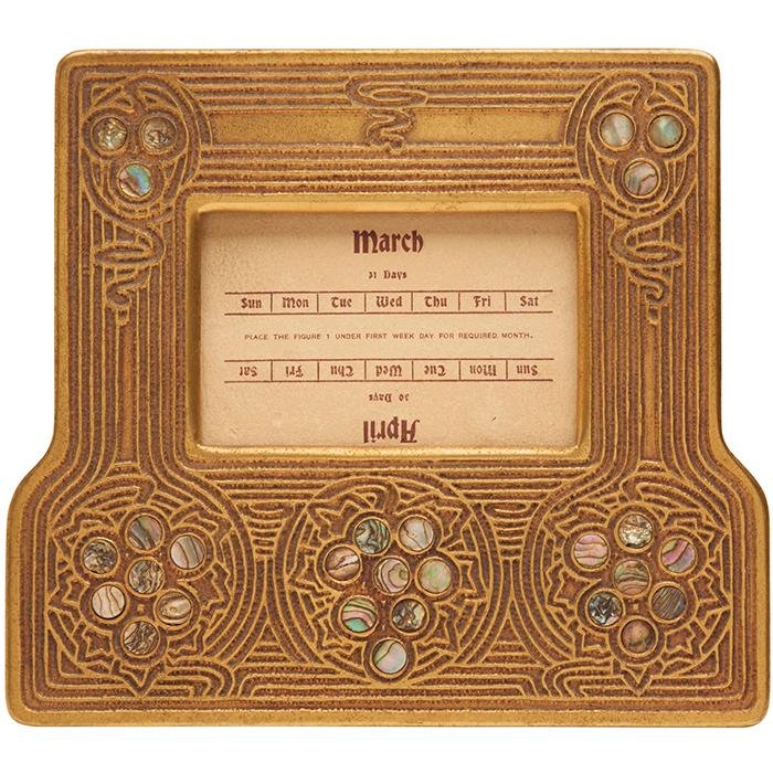 Tiffany Studios Abalone calendar frame, #1166 6.5