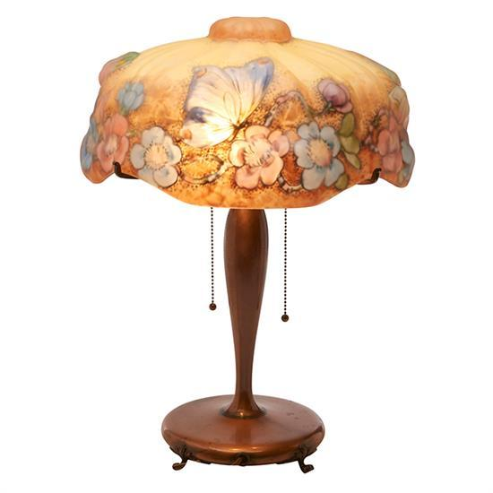 The Pairpoint Corporation Puffy Papillon table lamp: Butterflies and Apple Blossoms shade on base, #3047 14.5