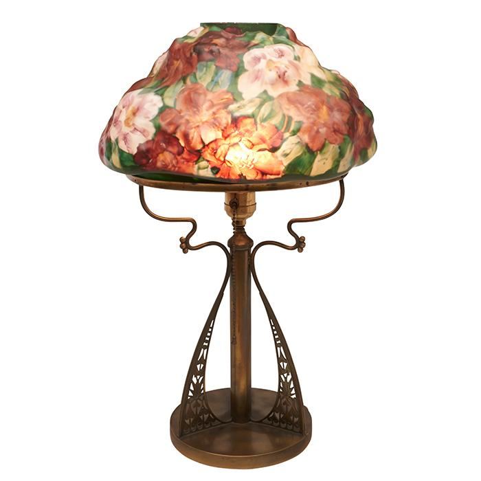 The Pairpoint Corporation Puffy Azaleas table lamp: shade, #601 on base, #3048 12.5