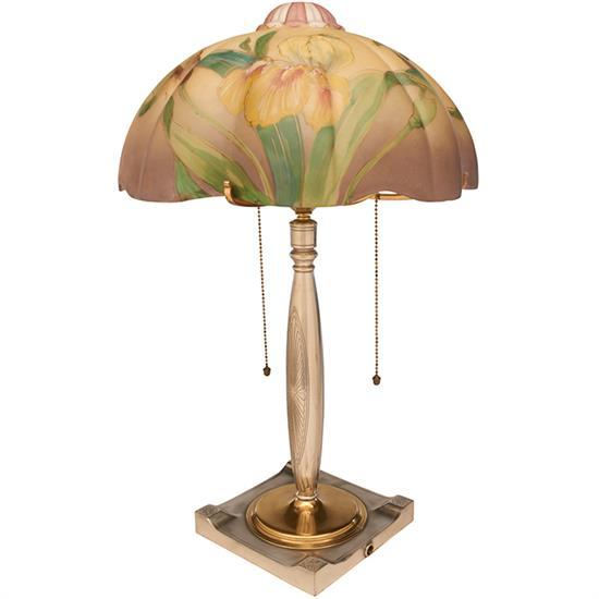 The Pairpoint Corporation Plymouth Iris table lamp: shade on base, #B3002 13.5