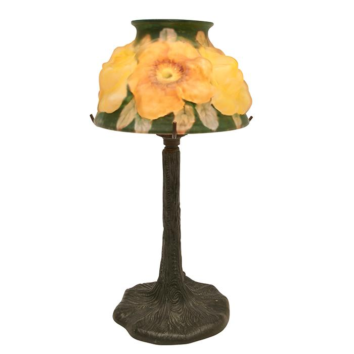 The Pairpoint Corporation Puffy Dogwood boudoir lamp: shade on a Tree Trunk base, #B3079 5