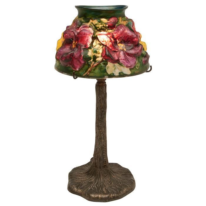 The Pairpoint Corporation Puffy Pansy boudoir lamp: shade on a Tree Trunk base, #B3079 5.5