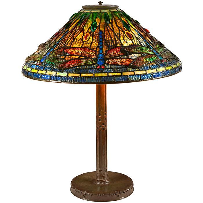 Tiffany Studios Dragonfly table lamp: shade, #1495 on an Indian base, #528 20