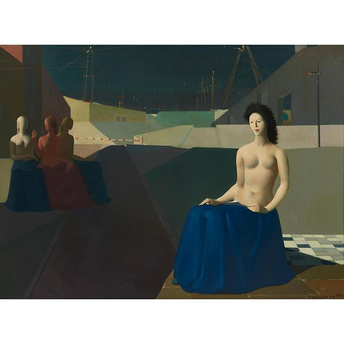Marcel Delmotte, (Belgian, 1901-1984), A la Croisse des Routes, 1956, oil on board, 36