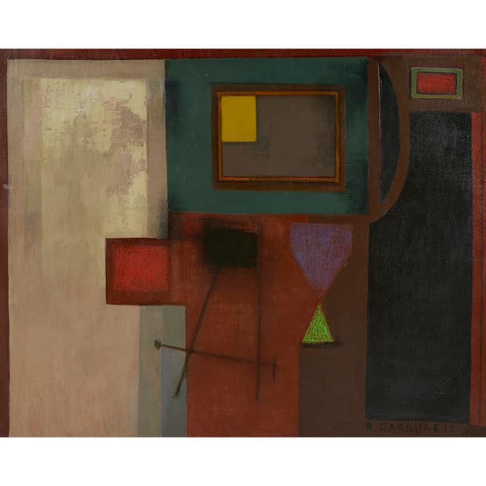 Remo Farruggio, (American, 1904-1981), Il Mio Studio, oil on canvas, 29