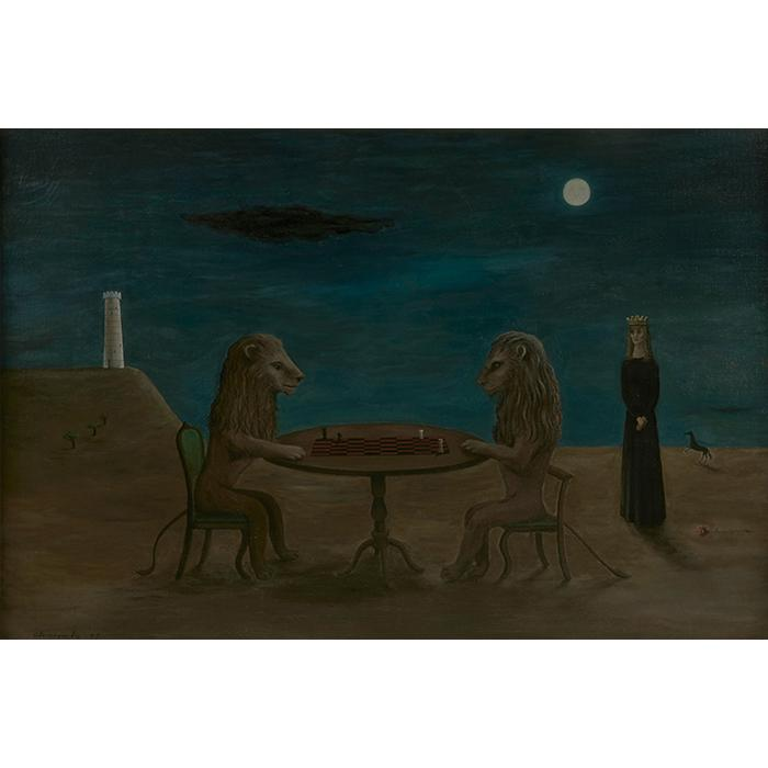Gertrude Abercrombie, (American, 1909-1977), A Game of Kings, 1947, oil on canvas, 24