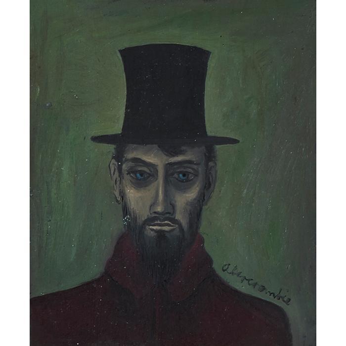 Gertrude Abercrombie, (American, 1909-1977), Man in a Top Hat, oil on board, 3.5