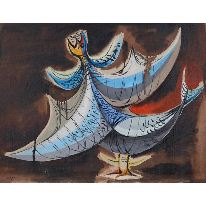 Richard Koppe, (American, 1916-1973), Wounded Bird, oil on canvas, 20