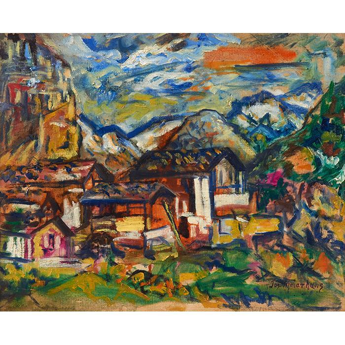 Joseph Meierhans, (American, 1890-1980), Modernist Landscape, oil on canvas board, 15.75