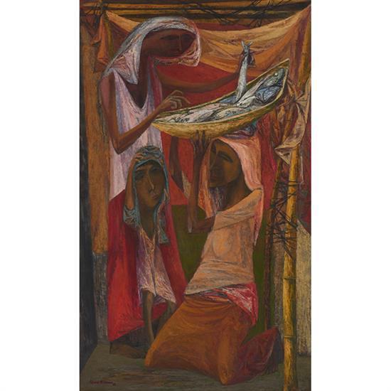 Edward Millman, (American, 1907-1964), Malaysian Attitudes, 1946, oil on canvas, 50