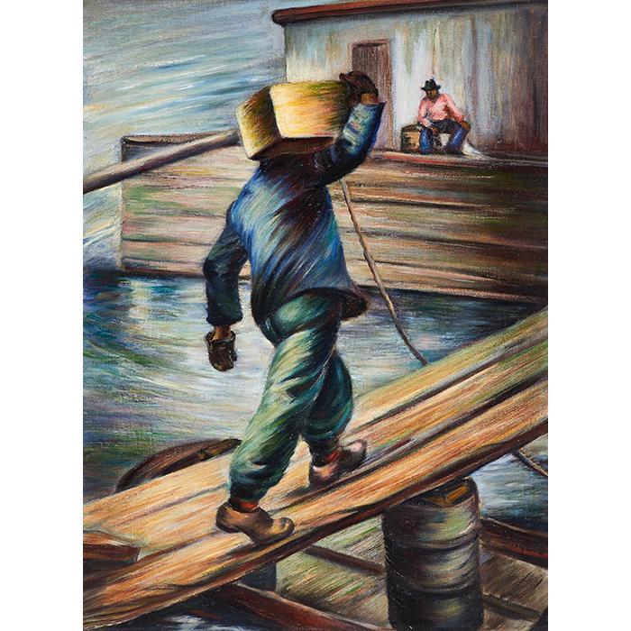 Bernice Lee Singer, (American, 1912-1992), Dock Workers, oil on canvas, 24