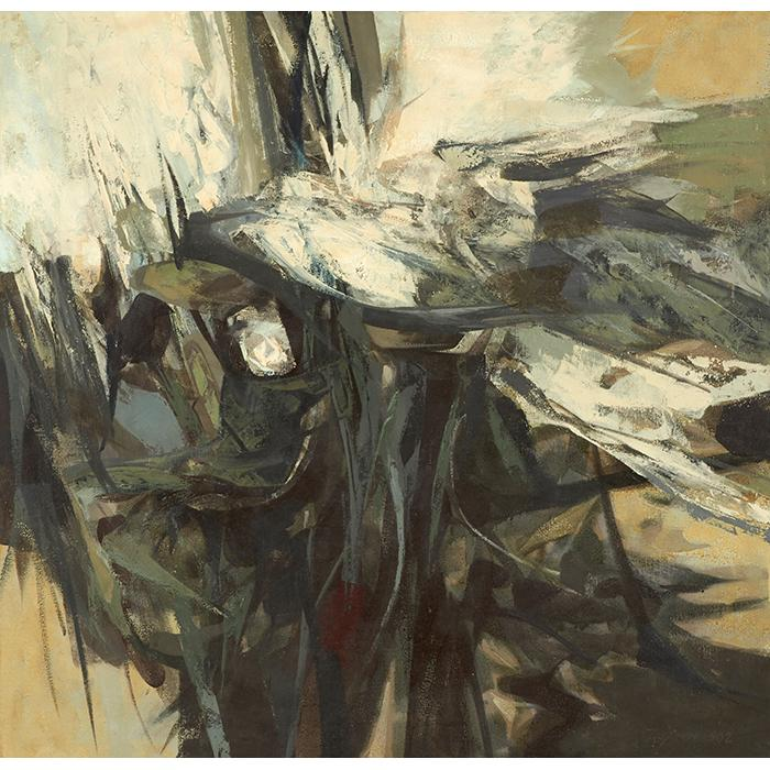 John Teyral, (American, 1912-1992), Ornithic Theme, 1962, oil on canvas, 31
