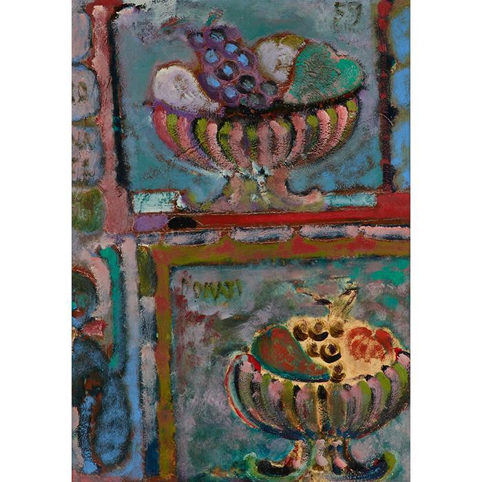 Lazzaro Donati, (Italian, 1926-1977), Le Fruttiere di Lulu, 1959, oil on board, 27.5