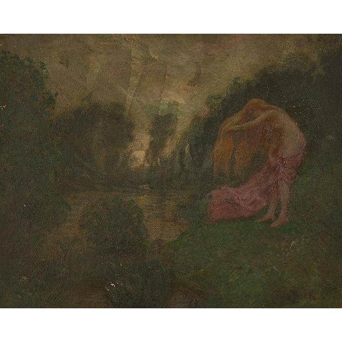 Claude Buck, (American, 1890-1974), Nude by a Stream, oil on artist board, 14