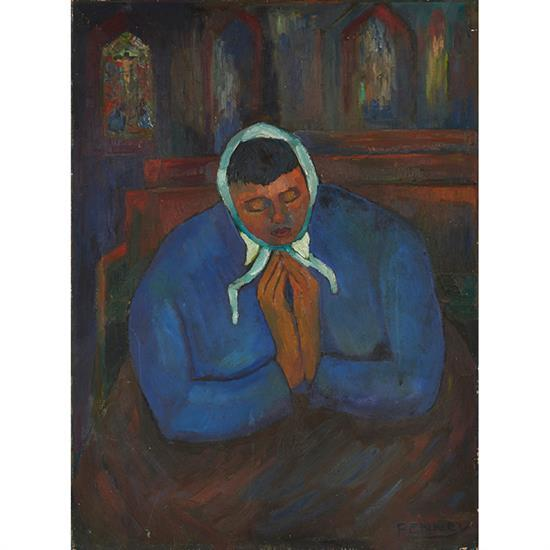 James Penney, (American, 1910-1982), Praying Woman, oil on canvas, 30